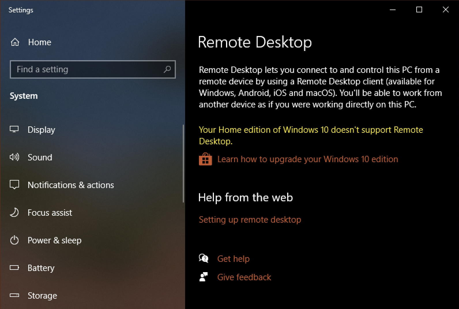 windows 10 pc - remote desktop - disabled home edition win10