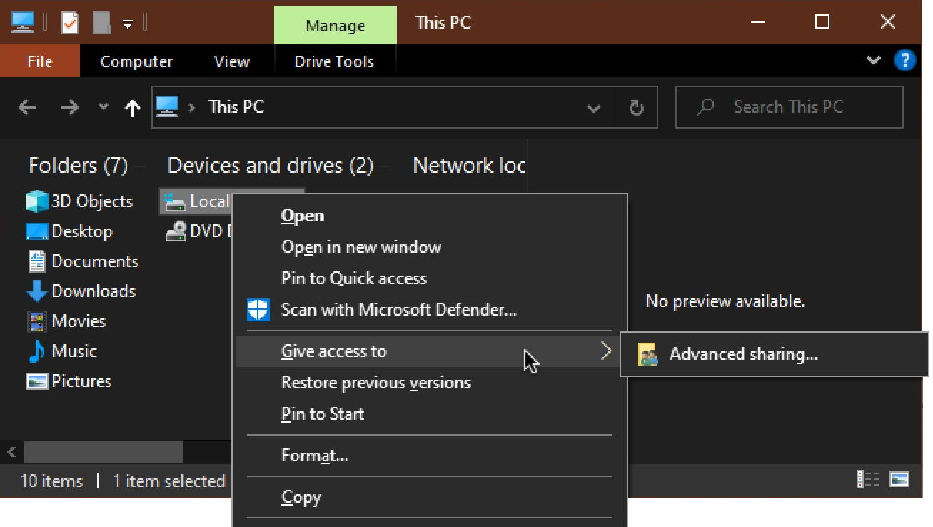 disable win10 remote file sharing
