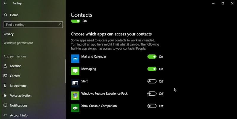 windows 10 win10 pc - settings - privacy - apps access to contacts