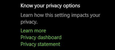 windows 10 win10 pc - settings - privacy - dashboard
