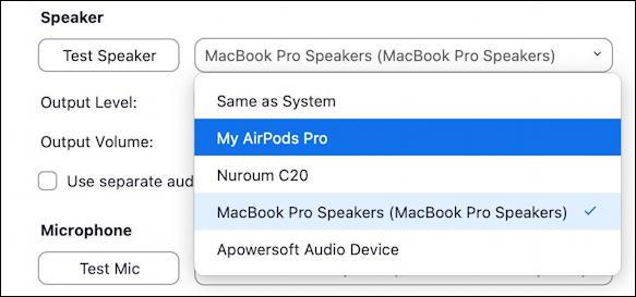 zoom - choose mic speaker camera video - settings - speaker choices