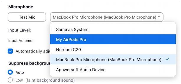 zoom - choose mic speaker camera video - settings - mic microphone input audio options