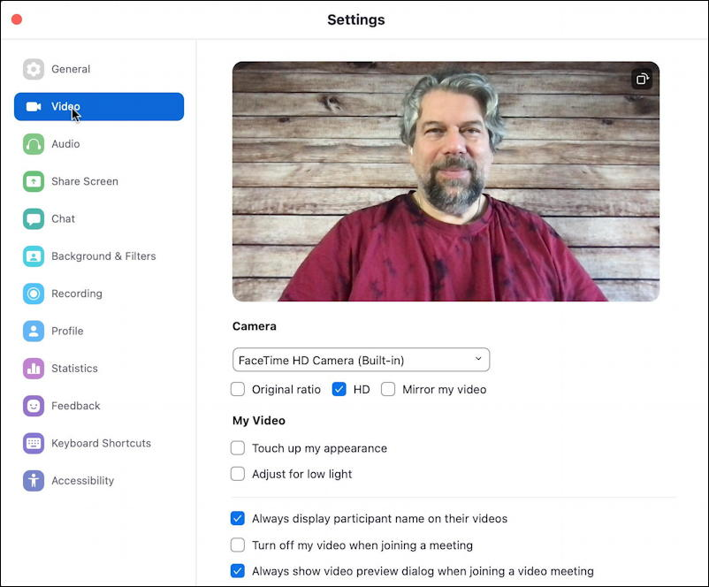 zoom choose video input settings preferences -