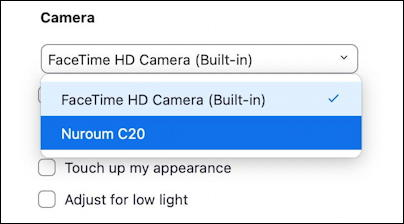 zoom choose video input settings preferences - choose video input source