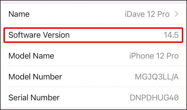 apple iphone ipad ios 14.5 version general info settings