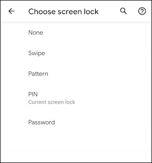 android phone - settings - change security - screen unlock options