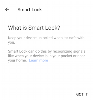 android phone - settings - change security - smart lock smartlock