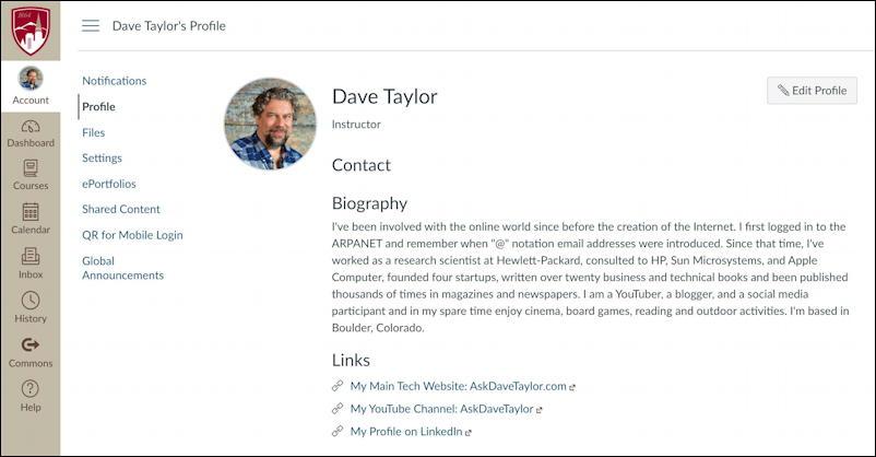 canvas lms - edit user profile