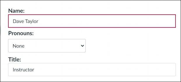 canvas lms - add preferred pronouns - edit user profile