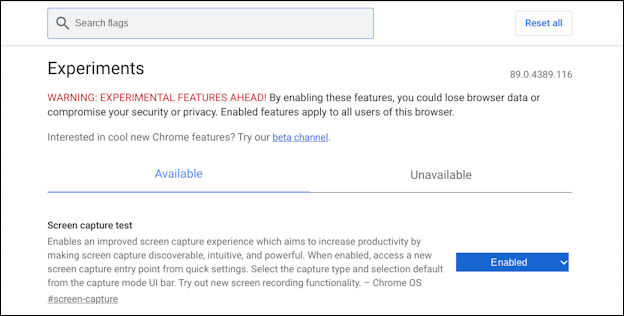 chromebook chromeos - settings flags preferences screenshot screen capture