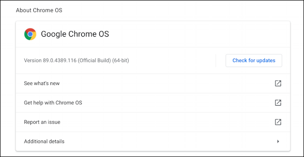 chromebook chromeos - about version number os