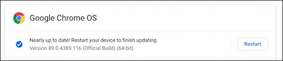 chromebook chromeos - updated restart