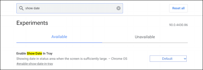 chromebook chromeos - enable show date in tray setting flag