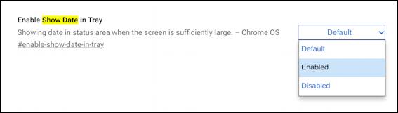 chromebook chromeos - show date in tray shelf taskbar setting options