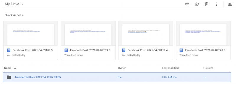 google drive - facebook posts transfer archive folder