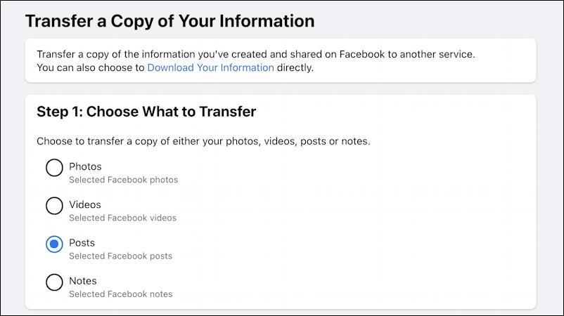 transfer facebook export google docs wordpress - what to transfer