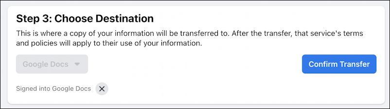 transfer facebook posts photos to google drive wordpress - confirm transfer