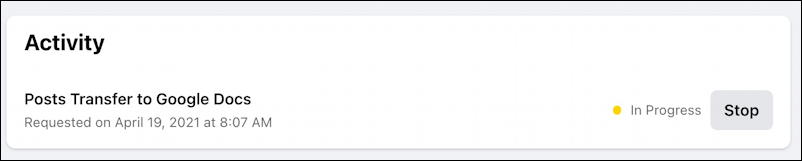 transfer facebook posts photos to google drive wordpress - cancel process transfer