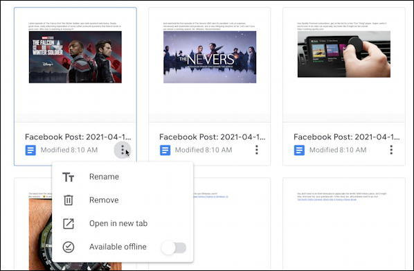 transfer facebook posts photos to google drive wordpress - delete individual doc document file post