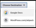facebook google docs wordpress - how to export copy save transfer - posts photos videos notes
