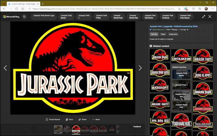 bing image search - jurassic park logo