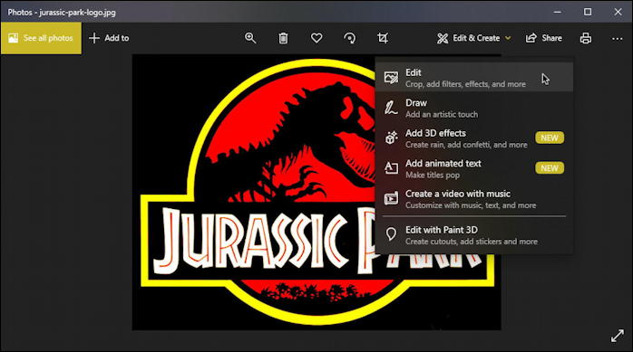 jurassic park logo in microsoft photos - how to edit