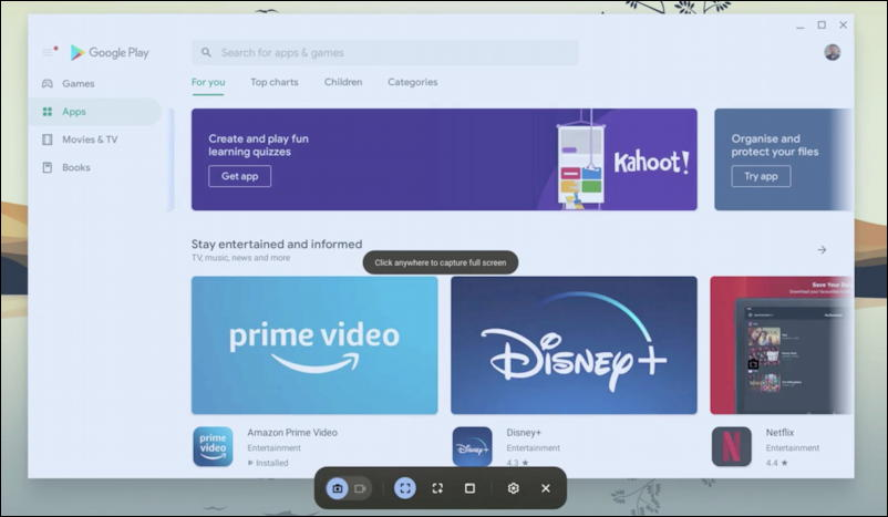 chromeos - screen ready for screen capture screenshot