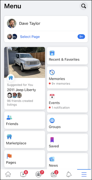facebook save post - mobile - more features menu