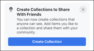 facebook save post - mobile - create new collection