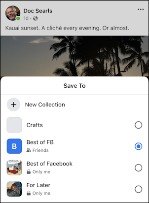 facebook save post - mobile - save post to collection