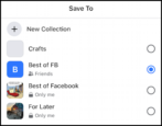 facebook save post collections how to work with