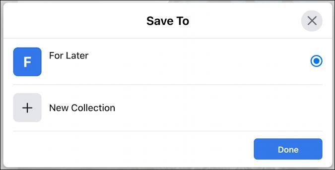 facebook save post - desktop - save to