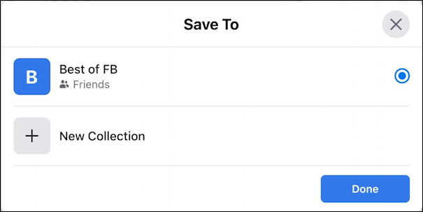 facebook save post - desktop - save to collections new only