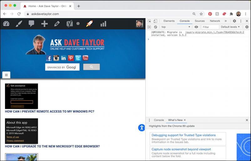 full webpage screen page captures image - google chrome - debug window
