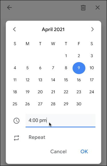 gmail tasks to-do list - when due time date repeat