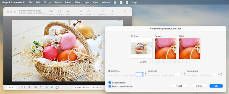 how to adjust photo color saturation - graphicconverter macos 11