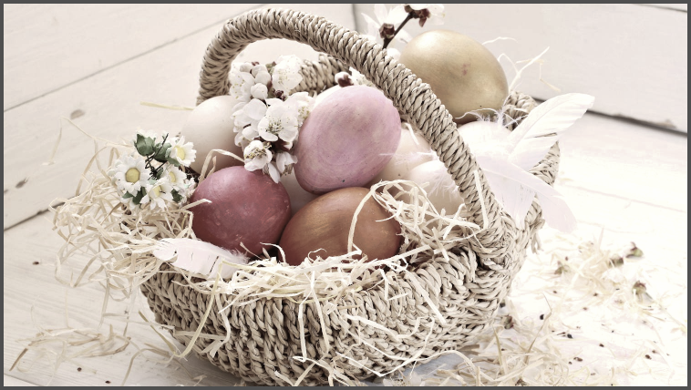 bright modern easter basket desaturated to make it antique