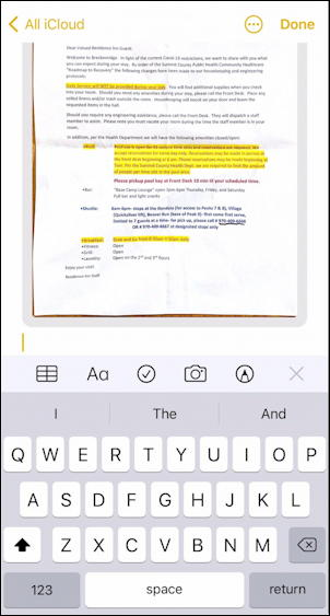 scanned document iphone notes scanner annotate no!