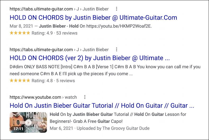hold on justin bieber justice - chords