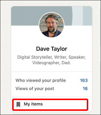 linkedin - my saved items library