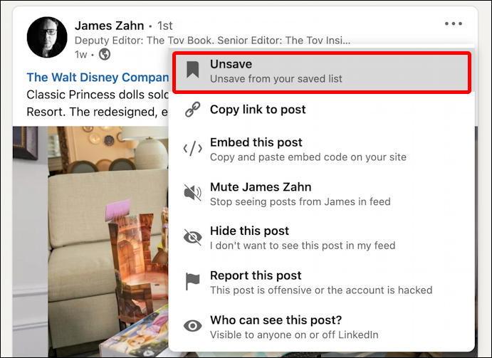 linkedin saved posts - unsave
