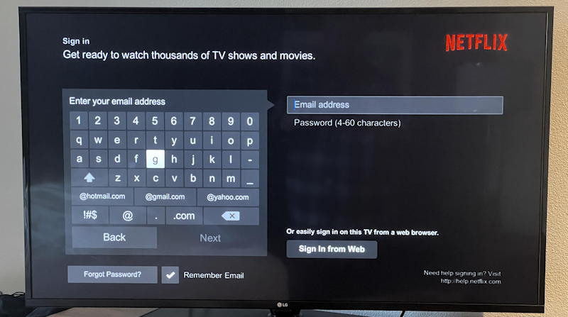 netflix sign in screen - tv remote