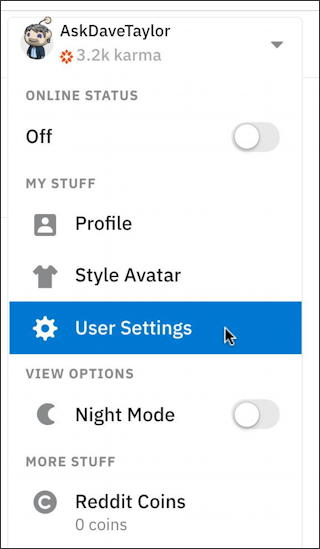 reddit - user settings -