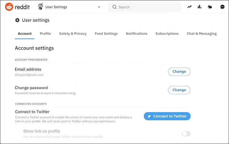 reddit - user settings - main view