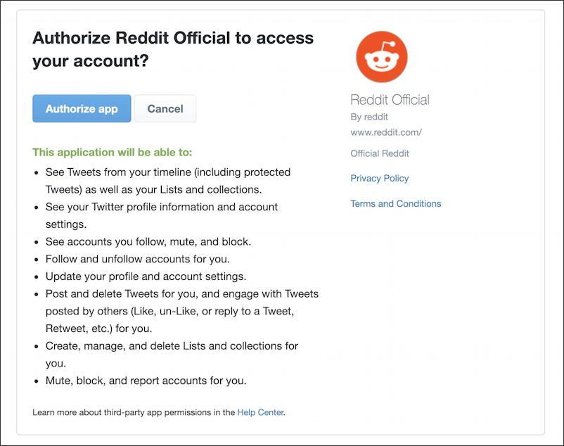 reddit - user settings - grant reddit permission to access twitter account?