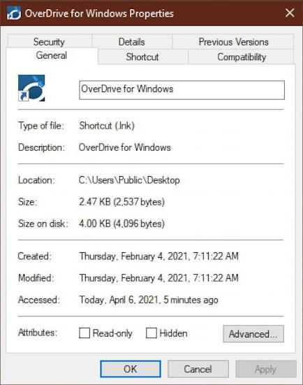 win10 desktop shortcut - properties - general