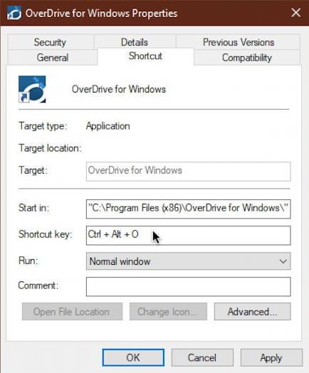 win10 desktop shortcut - properties - shortcut - mapped