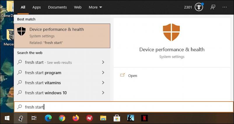windows 10 - win10 - taskbar search 'fresh start'