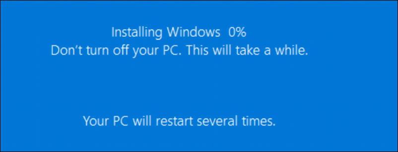 win10 fresh start - installing windows 0%