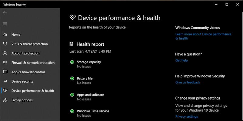 win10 fresh start - system health and performance